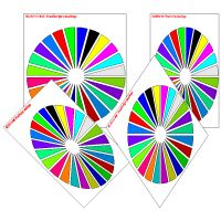 Pie charts demonstrating Survo PostScript shadings